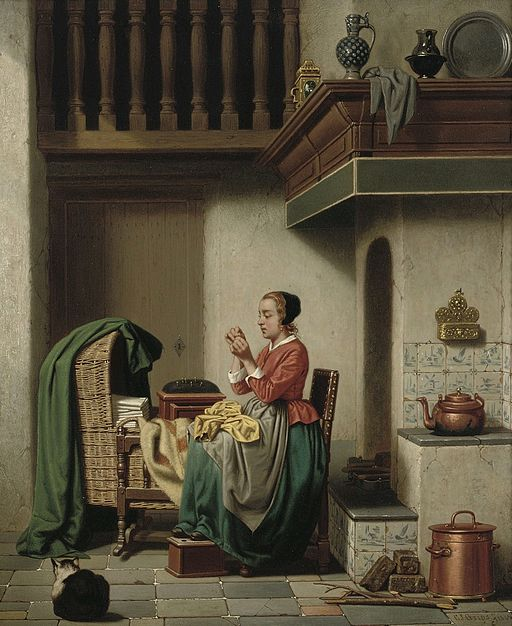 Charles Joseph Grips - Doing the Needlework, 1864