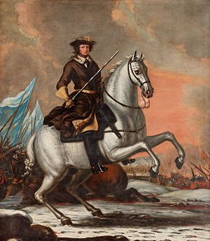Monarchy of Sweden - Charles XI at the Battle of Lund in 1676. Painting by David Klöcker Ehrenstrahl.