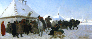 Vogt - Trial before the wójt  by Józef Chełmoński (1873), National Museum in Warsaw