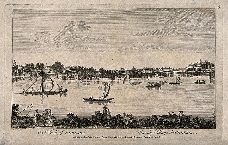 File:Chelsea; viewed from the Surrey bank with boats on the river Wellcome V0012959.jpg