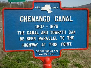 Chenango Canal - Historic marker of the Chenango Canal, canal and towpath at North Norwich, New York.