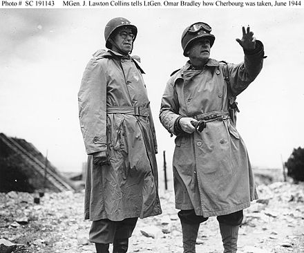 Lieutenant General Omar Bradley (left), Commanding General, U.S. First Army, listens as Major General J. Lawton Collins, Commanding General, US VII Corps, describes how the city of Cherbourg was taken. (c. June 1944) Cherbourg 1944 s191143.jpg