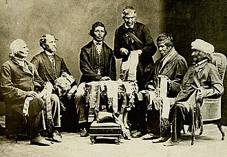 Six Nations of the Grand River - Chiefs of the Six Nations explaining their wampum belts to Horatio Hale, 1871