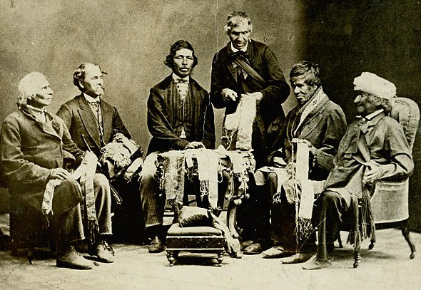 Chiefs of the Six Nations at Brantford, Canada, explaining their wampum belts to Horatio Hale September 14, 1871