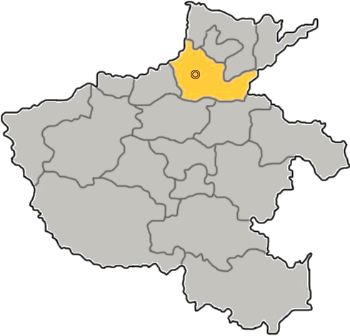 Xinxiang's location in Henan province