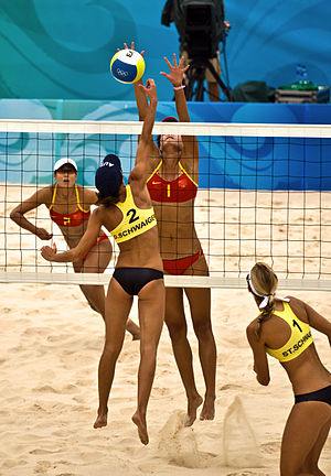 China vs. Austria in Olympic Beach Volleyball....