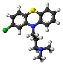 Ball-and-stick model of the chlorpromazine molecule