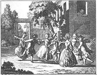 "Johann Bernhard Basedow - Illustration from ""Elementartwerk"": Children's amusements, Dancers with Grandfather looking on (1774)."