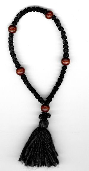 Prayer rope - Eastern Orthodox prayer rope with 50 knots and 5 wooden beads.