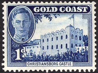 Osu Castle - A 1948 stamp of The Gold Coast (modern Ghana) showing the castle under its former name.