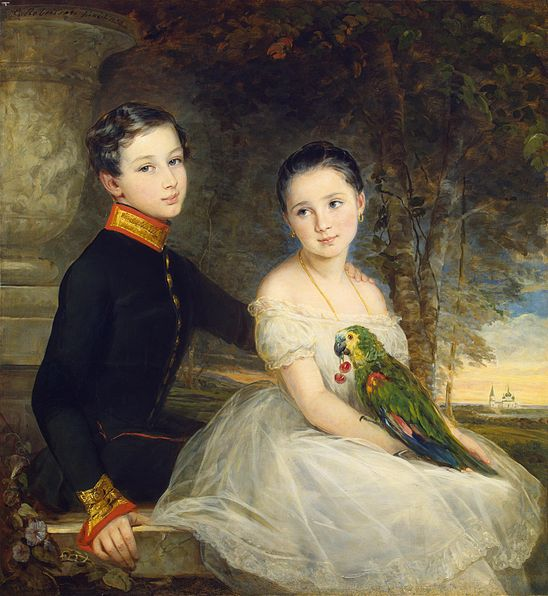 File:Christina Robertson - Children with Parrot, 1850.jpg