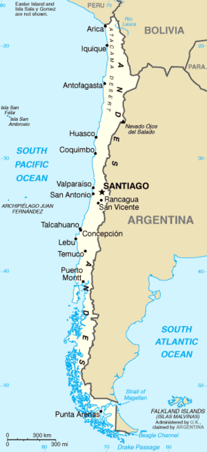 Water supply and sanitation in Chile - Map of Chile