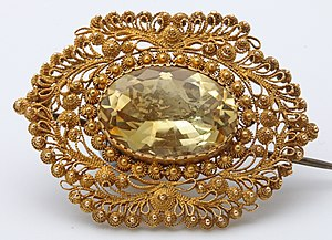 Filigree - Citrine cannetille work brooch