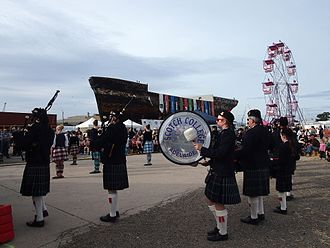 Scotch College, Adelaide - Scotch College pipe band and highland dancers at the City of Adelaide clipper's 150th anniversary at Port Adelaide, 17 May 2014.