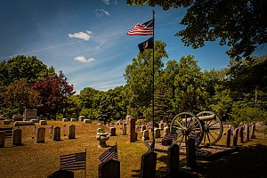 Mount Albion Cemetery - Lot for Civil War veterans selected in 1883.