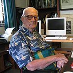 Arthur C. Clarke at his home office in Colombo, Sri Lanka, 28 March 2005