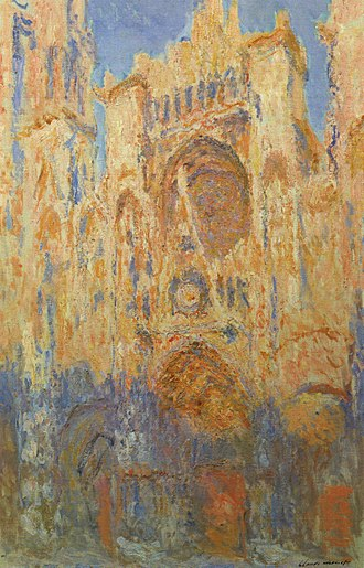 Rouen Cathedral (Monet series) - Rouen Cathedral, Facade (sunset), harmonie in gold and blue 1892-1894 Musée Marmottan Monet Paris, France