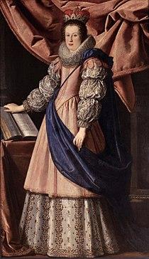 Claudia de' Medici wearing the coronet of an Archduchess of Austria by Lorenzo Lippi.jpg
