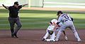 Cleveland Indians shortstop Asdrubal Cabrera (13) and Baltimore Orioles shortstop J.J. Hardy (2) (5945180420).jpg