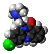 Space-filling model of the clobenzepam molecule