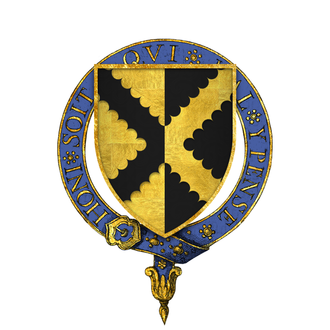 Sir Richard Pole - Arms of Sir Richard Pole, KG: Per pale or and sable, a saltire engrailed counterchanged