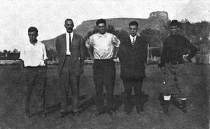 Theodore M. Stuart - 1910 Colorado School of Mines football staff (Stuart in middle)