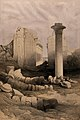 Column of the pharaoh Taharqa, with temple ruins at Karnac, Wellcome V0049339.jpg