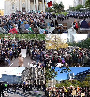 Occupy movement - Image: Combination of October 2011 global protests