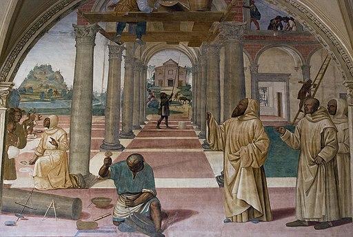 Il Sodoma, Storie di San Benedetto,  Come Benedetto compie la edificazione di dodici monasteri
