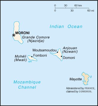 Outline of Comoros - An enlargeable basic map of the Comoros