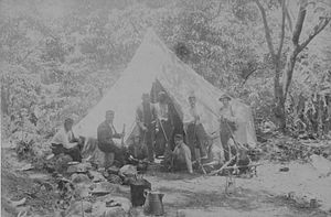 Leper War on Kauaʻi - Image: Company A, National Guard of Hawaii, camped in Kalalau Valley (PP 19 5 010)