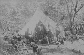 Leper War on Kauaʻi - Soldiers of the National Guard Auxiliary of the Provisional Government of Hawaii camped in Kalalau Valley.