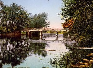 Concord River - The Concord River at the Old Bridge, Concord, Massachusetts, circa 1900.