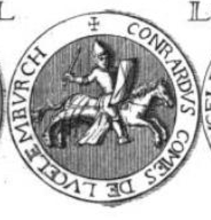 Conrad I, Count of Luxembourg - Seal of Conrad I of Luxembourg. The Latin inscription on the border of the seal reads: CONRARDVS COMES DE LVCELEMBVRCH