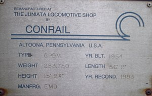 GP16 - Image: Conrail plate on USAX 4635, a GP16