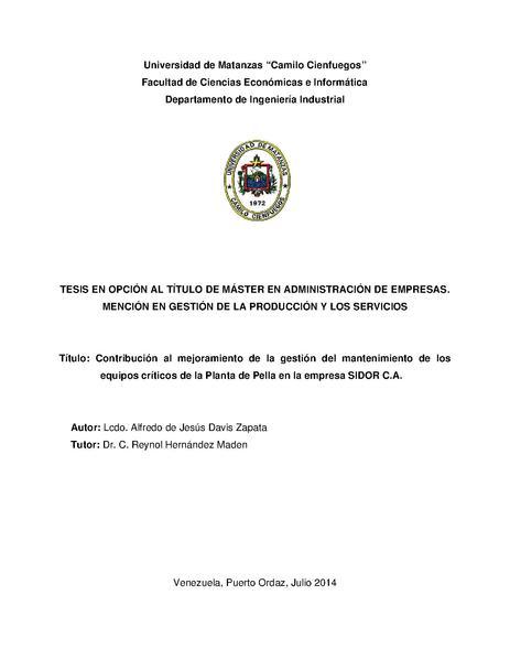 File:Contribución al mejoramiento de la gestión del mantenimiento de los equipos críticos de la Planta de Pella en la empresa SIDOR.pdf