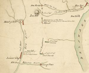 Iron Hill (Delaware) - Troop movements around Iron Hill during the Battle of Cooch's Bridge depicted on a period map