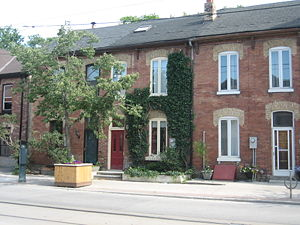 Corktown, Toronto - A group of houses along Queen Street in Corktown