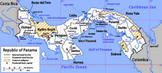 Provinces of Panama - A map of Panama showing its ten provinces and three provincial-level comarcas indígenas (indigenous regions).