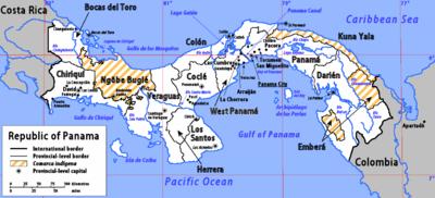 Karte von Panama inklusive Provinzen