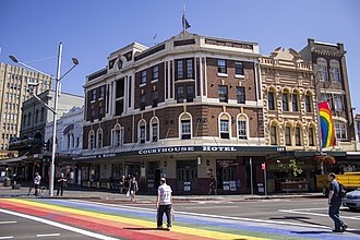 Oxford Street in Darlinghurst Court House Hotel and the Rainbow Crossing on Oxford Street in Darlinghurst.jpg