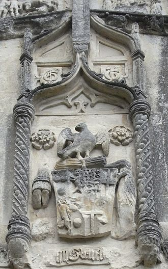 William Courtenay, 1st Earl of Devon - Arms of William Courtenay, 1st Earl of Devon (d.1511) above the south porch of St Peter's Church, Tiverton.