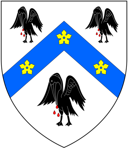 "New arms granted circa 1544 to Thomas Cranmer by King Henry VIII, in lieu of his paternal arms:Argent, on a chevron azure between three pelicans sable vulning themselves proper as many cinquefoils or, telling him ""That those birds should signify unto him, that he ought to be ready, as the pelican is, to shed his blood for his young ones, brought up in the faith of Christ Cranmer BishopricArms.png"