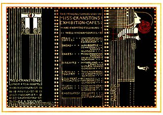 Scottish Exhibition of National History, Art and Industry - A menu from Miss Cranston's tea room at the exhibition.