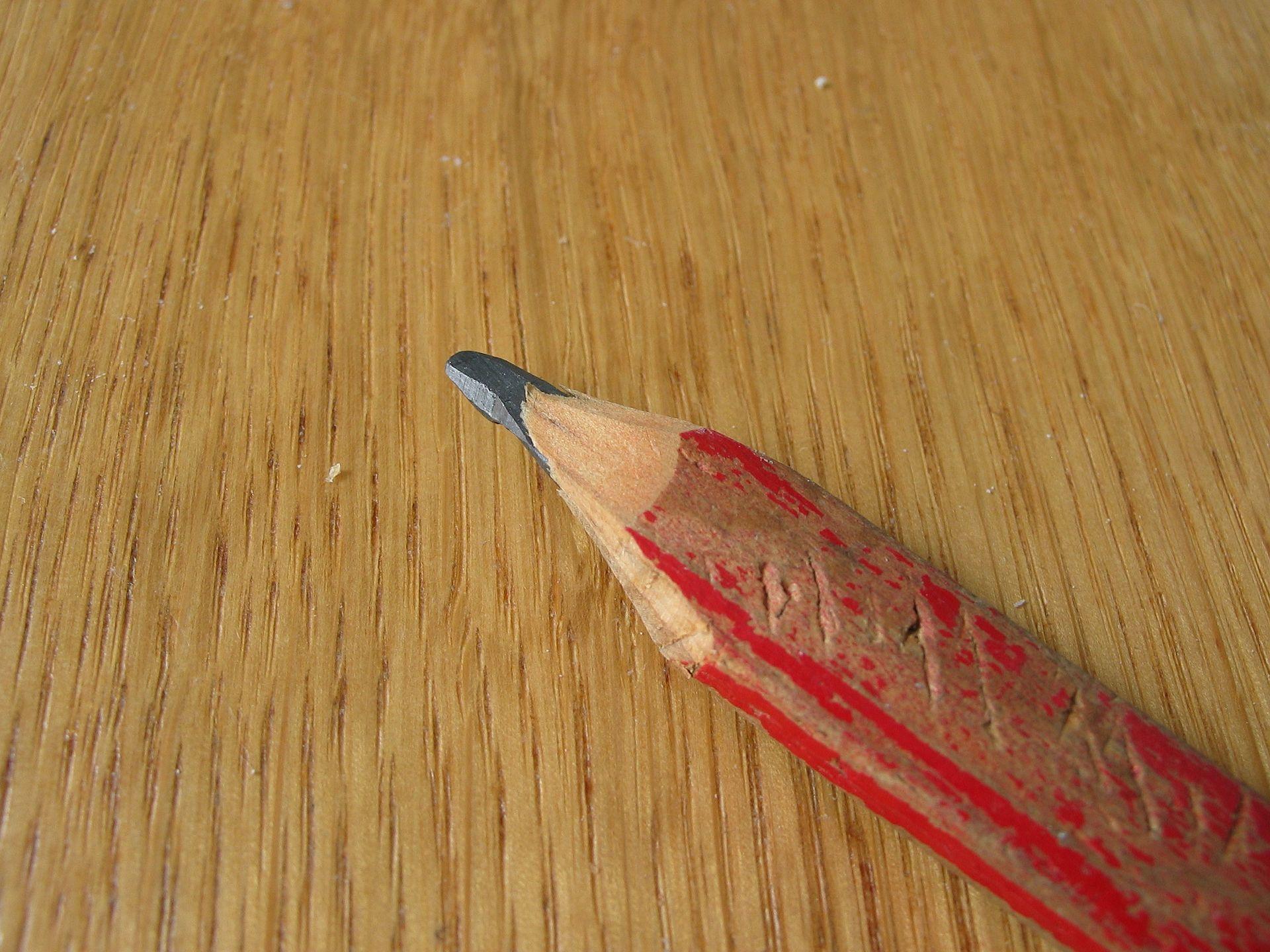 red carpenter's pencil