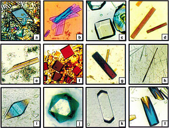 Space manufacturing - Crystals grown by American scientists on the Russian Space Station Mir in 1995: (a) rhombohedral canavalin, (b) creatine kinase, (c) lysozyme, (d) beef catalase, (e) porcine alpha amylase, (f) fungal catalase, (g) myglobin, (h) concanavalin B, (i) thaumatin, (j) apoferritin, (k) satellite tobacco mosaic virus and (l) hexagonal canavalin.