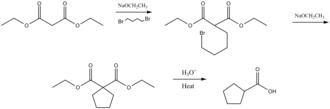 Malonic ester synthesis - Image: Cycloalkylcarboxylic acid mechanism