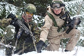 Czech army Sgt. Van Kmecik and Croatian army Master Sgt. Bravko Horvat discuss patrol routes.jpg
