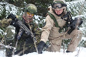 Army of the Czech Republic - Croatian Army soldier discusses patrol routes with a Czech Army soldier (left)