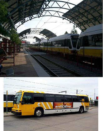 Dallas Area Rapid Transit - Arapaho Center Light Rail Station (Top) A DART NovaBus RTS (Bottom)